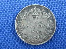 1908 CANADA SILVER KING EDWARD VII 10 CENT COIN