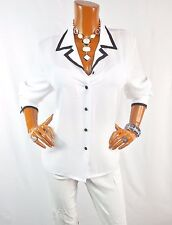 S BENTLEY Womens Top L White Black Button Down Shirt Casual Blouse Long Sleeve