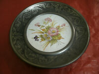 Ceramica Antica NOVE di Bassano + Contorno in Peltro Da Appendere d13cm, d22cm