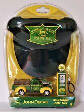John Deere Nostalgic Gift Set Die Cast Pickup Gas Pump and Logo Embroidered Hat