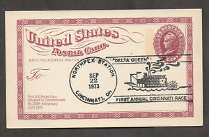 "US #UX65, pictorial cancel depicts paddlewheel steamer ""Delta Queen."""