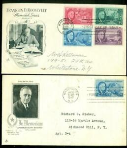 1946 - 2 Franklin D Roosevelt Memorial First Day Covers Postmarked Washington DC