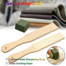 Wood Dual Sided Leather Buffing  Blade Strop Tool  Razor Sharpener Polishing