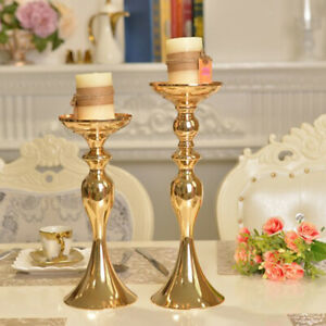 Tabletop Floor Stand Candle Holder Flowers Vase Home Decor Ornament Gold-S