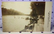 RPPC 1910's Meramec River Valley Park MO Missouri Row Boats Dock Canoes Swimmers