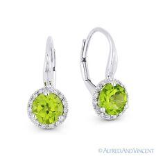 1.52 ct Peridot & Diamond 14k White Gold Drop Dangling Leverback Baby Earrings