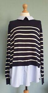 Cotton Traders Mock Blue Shirt Under Navy/Cream Striped Jumper Size 16