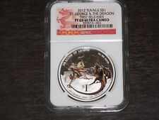 2012 TUVALU DRAGONS OF LEGEND ST GEORGE & THE DRAGON SILVER PROOF COIN PERTH $1