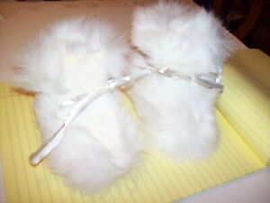 Unique Baby White Rabbit Fur SLIPPER Soft Shoe Boot Gold Leather Sole Ribbon Tie