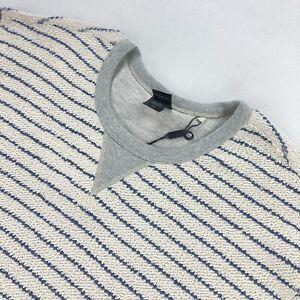 NEW Rails Men's Cotton Crew Neck Sweater Off White/Blue Striped • Large