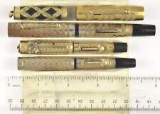 3 vintage Morrison fountain pens w GF overlays, 1 w price band, plus 2 caps