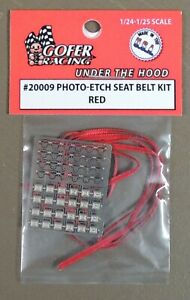 RED PHOTO-ETCHED SEAT BELT KIT FOR 1:24 AND 1:25 SCALE MODEL CARS
