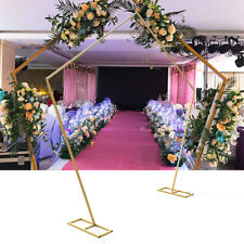 "99""Gold Wrought Iron Pentagon Arch Frame Wedding Party Backdrop Stand Decor New!"