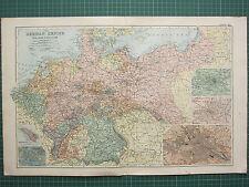 1900 LARGE VICTORIAN MAP ~ THE GERMAN EMPIRE HAMBURG BAVARIA BERLIN CITY PLAN