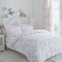 FLORAL TOILE STRIPE PINK WHITE SINGLE DUVET COVER & PENCIL PLEAT CURTAINS