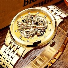 Anniversary Edition NARY Gold Wrist Watches Men's 3D Chinese Dragon Mechanical