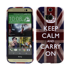 TPU Case f HTC One M8 Schutzhülle Tasche Cover Keep Calm and Carry On England UK