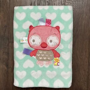 """Taggies Owl Baby Blanket Hearts Aqua Green Pink White 30x40"""" Security Lovey"""