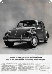 1964 Sexist VOLKSWAGEN BEETLE VW BUG - Women Wreck Cars - REPLICA METAL SIGN