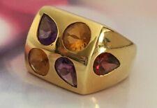 Multi-Color Gemstones 18k Yellow Gold Ring