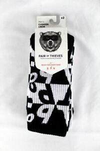 Pair of Thieves Men's Cushion Crew Socks 2 Pack, Black & White Design, Size 8-12