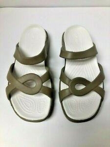 Crocs Tan Meleen Twist Slide Sandals Womens 8