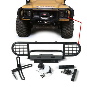 CNC Alloy Front Bumper Bar with lampshade For RC 1:10 D90 D110 RC4WD Crawler US