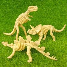 3 Dinosaur Skeleton T-Rex Stegosaurus Triceratops Miniature Jurassic Toy Figure