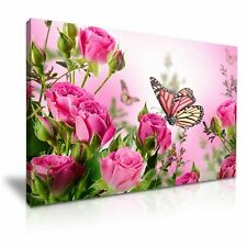 "Butterfly Rose Flower  PICTURE CANVAS WALL ART 20""X30"""