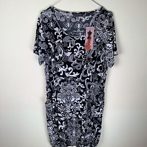 Nina Leonard Black Patterned Stretch Dress XL