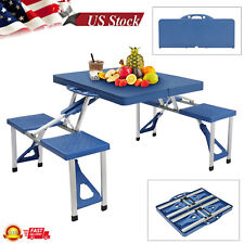Siamese Folding Camping Picnic Table W/ 2 Bench Chair Seat Set Outdoor Furniture