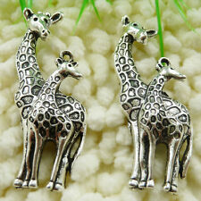Free Ship 54 pieces tibetan silver giraffe pendant 55x20mm #286