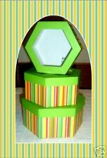 3 Hexagon Multi Color Striped Gift Boxes-3 Sizes-GREEN!