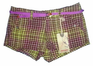 Ladies Unionbay Yellow & Purple Plaid Shorties Juniors Shorts 3, 5, 7, 9, 11, 17
