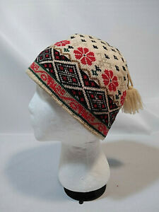 HAT Merkley Headgear NORDIC Wool Knit VAIL Ski Beanie Tassel FAIR ISLE Cap Red +