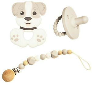 DarNil Baby teething toy,cute silicone dog, pacifier, universal pacifier clip