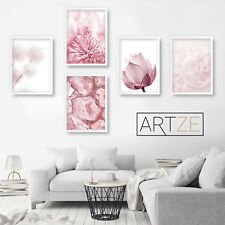 Pink FLORAL Nature Abstract ART PRINT Gallery Wall set Poster Box Framed v5
