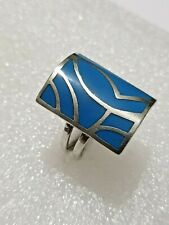Stunning Studio Crafted Turquoise Inlay Ring 925 Solid Silver ring Size P1/2~Q