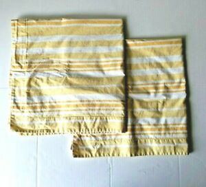 Pottery Barn Euro Yellow Stripe Pillow Cases Covers Organic Cotton Two (2)