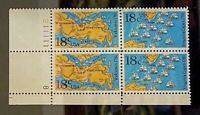 US Stamps, Scott #1937-38 Am Bicentennial 18c Plate block of 4 1981 XF/Sup M/NH