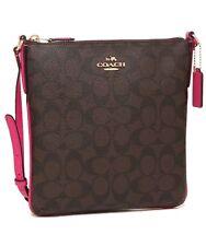 Coach North/South Crossgrain Leather Crossbody Handbag F35940 Pink Ruby $195