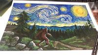 NEW Bigfoot Print - Starry Night Van Gogh- Printed in USA 9x12 - Lantern Press