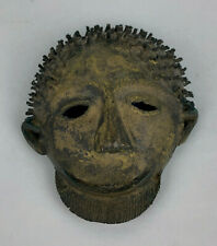 "West African Bronze Smiling Bearded Man Passport Style Mask 5"" Tall 20th Century"
