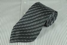 Hugo Boss Homme Cravate Gris & Noir Ondulation Soie Rayé Cravate 152x9.5cm
