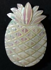 Vintage Pineapple fruit Mother of Pearl MOP hand Carved shell Pin brooch