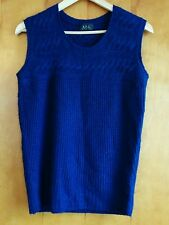 A.P.C. Paris Alpaca Cashmere Silk Sleeveless Sweater Knit Vest Small blue