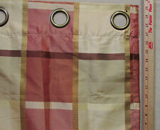 Single Window Curtain Panel Large Grommet Tan Gold Red Brown Check Plaid Shimmer