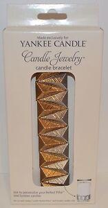 Neuf Yankee Candle Pilier Verre Bougie Collier Bracelet Bijouterie Support Doré