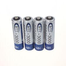 HOT 4 piezas BTY 1.2v 3000mah AA recargable Ni-MH Pack de pilas -nuevo