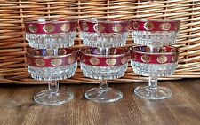 Six Red and Gold Italian Sundae Glasses 1960's Vintage